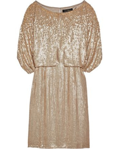 Layered Sequined Silk-georgette Dress Gold Size 12