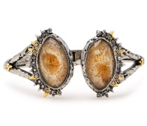 Hammered -tone, Crystal And Stone Cuff