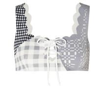 Wainscott Scalloped Lace-up Gingham Stretch-crepe Bikini Top