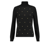 Studded wool turtleneck sweater