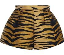 Plissierte Shorts aus Jacquard mit Tigermuster