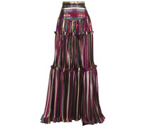 Metallic Striped Plissé Silk-voile Maxi Skirt
