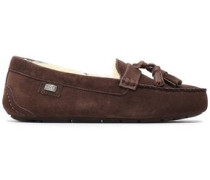 Tasseled Shearling Loafers Chocolate
