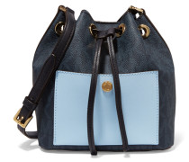 Printed Textured-leather Bucket Bag Mitternachtsblau