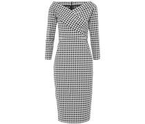 Wrap-effect checked cotton-blend dress