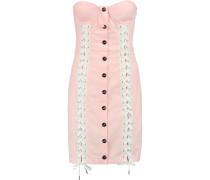 Lace-up Cotton-blend Mini Dress Babypink