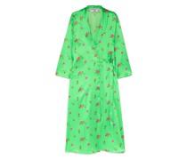 Elle Floral-print Stretch-silk Satin Wrap Dress