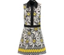 Ellis poplin-trimmed cotton-blend jacquard mini dress