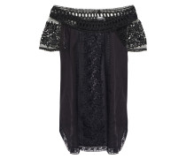 Off-the-shoulder Crocheted Lace-paneled Cotton-blend Voile Blouse