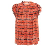 Ruffled Tie-dyed Silk-crepon Top