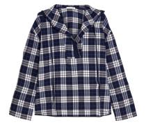 Hooded Plaid Pima Cotton Pajama Top Navy