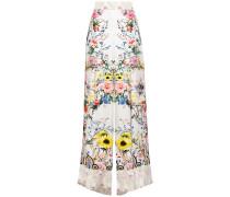 Crystal-embellished Floral-print Silk-twill Wide-leg Pants
