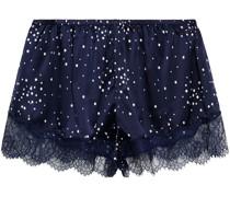 Esti Bedruckte Pyjama-shorts aus Satin aus Stretch-seide mit Spitzenbesatz