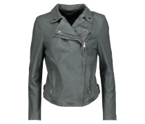 Monteria Leather Biker Jacket Grau