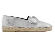 Embellished Metallic Cracked-leather Espadrilles Silber