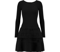 Fluted Ribbed Wool-blend Mini Dress Schwarz