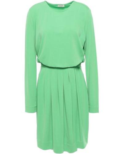 Pleated Stretch-crepe Mini Dress Green