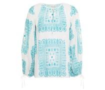 Geraffte Bluse aus Baumwoll-voile mit Print