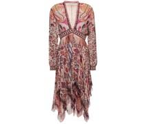 Bedrucktes Kleid aus Seiden-georgette mit Fransen und Stickereien