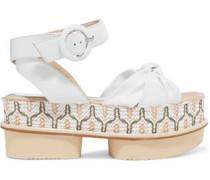 Rosita leather and woven raffia platform sandals