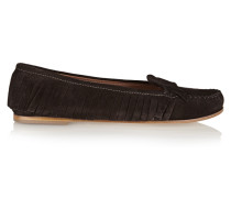 Fringed Suede Loafers Dunkelbraun