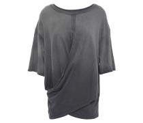 The Draped Wrap-effect Cotton-jersey T-shirt