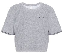 Whitney Meliertes Cropped T-shirt aus Perforiertem Stretch-material mit Print