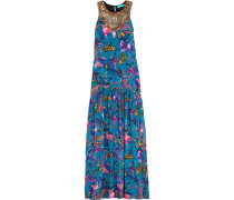 Embellished Printed Washed-silk Maxi Dress Petrol