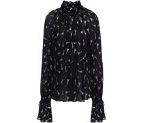 Geraffte Bluse aus Fil Coupé aus Einer Seidenmischung mit Metallic-effekt