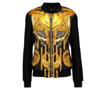 Faux-leather Trimmed Printed Satin And Wool-blend Jacket Mehrfarbig