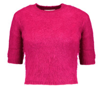 Cropped Knitted Sweater Fuchsia