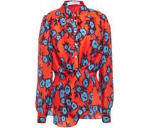 Draped Printed Silk-organza Shirt