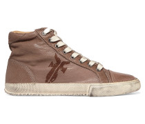 Kira Textured-leather Sneakers Champignon