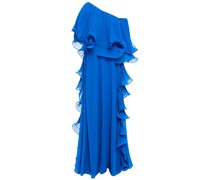Schulterfreie Robe aus Georgette und Organza mit Falten