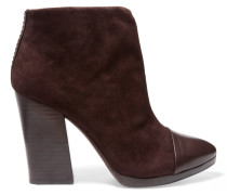 Rivington Leather-paneled Suede Ankle Boots Dunkelbraun
