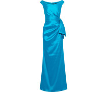 Bow-detailed Ruched Faille Gown