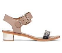 Trina Paneled Leather Sandals Taupe