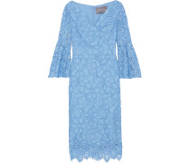 Woman Corded Lace Dress Light Blue