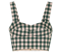 Agnello Cropped Gingham Cotton-blend Top