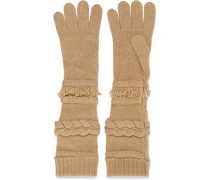 Paneled Wool And Cashmere-blend Gloves Camel