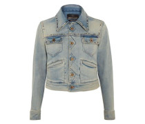 Embroidered studded denim jacket