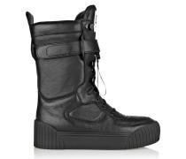 Leather Biker Boots Schwarz