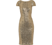 Sequined Mesh Dress Gold