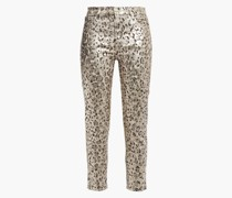 Cropped Metallic Coated Leopard-print Mid-rise Skinny Jeans