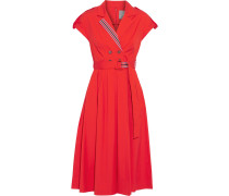 Woman Belted Button-embellished Stretch Cotton-poplin Dress Tomato Red