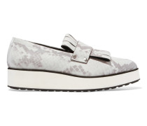 Manor Snake-print Leather Platform Loafers Stein
