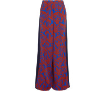 Cici Printed Crepe And Satin Wide-leg Pants Kobaltblau