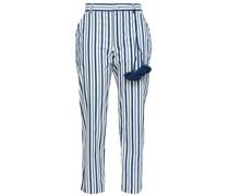 Zuri Cropped Striped Cotton-poplin Straight-leg Pants