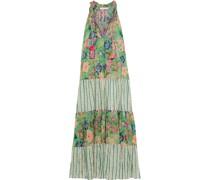 Ludmilla Gestuftes Maxikleid aus Baumwoll-voile mit Print und Häkelbesatz