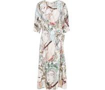 Knotted Printed Silk-satin Twill Dress
